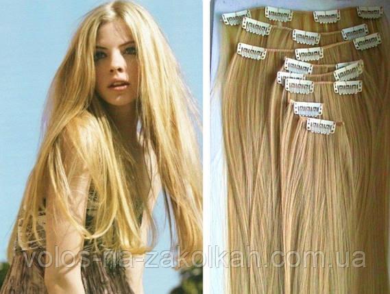 Волосы на заколках песочный блонд.Накладные волосы на заколках клипсах термостойкие искусственные.трессы.пряди, фото 2