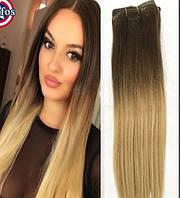 Волосы на заколках цвет  омбре