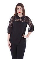 Блузка женская летняя черная шифоновая с гипюром 649.2