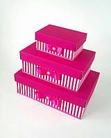 Прямоугольный подарочный комплект коробок ручной работы розового цвета с белой полоской и бусинкой