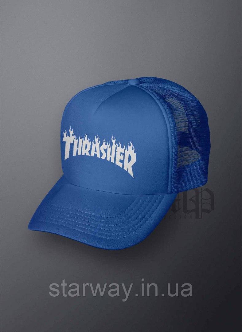 Кепка тракер синя Thrasher logo