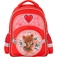 Красивый школьный рюкзак для девочки на 14л. Kite 525 PO; PO17-525S, красный