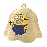 """Детские шапки для бани и сауны из светлого войлока с вышивкой """"Миньон 2"""""""