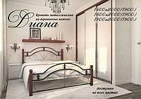 Кровать металлическая Диана на деревянных ногах (Металл-Дизайн) двухспальная 160