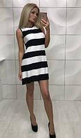 Платье в черно-белую широкую полосу