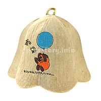 """Детские шапки для бани и сауны из светлого войлока с вышивкой """"Я тучка, тучка, тучка"""""""