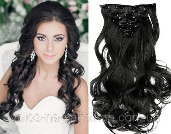 Волосы на заколках цвет  черный, фото 2