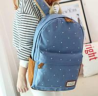 Стильный рюкзак в горошек.синий