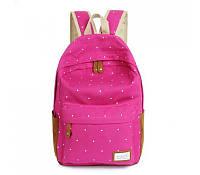Стильный рюкзак в горошек.розовый