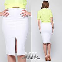 Белая женская юбка с разрезом 077