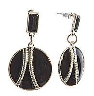 Серьги-пусеты круглые с черной эмалью,металл под серебро (45×25мм)
