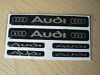 Наклейка s надпись Audi набор 6шт силиконовая на авто эмблема логотип Ауди кольца