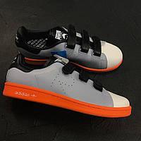 Кроссовки Adidas Stan Smith X Raf Simons Orange/grey. Живое фото. Топ качество (адидас стан смит)