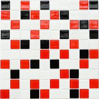 Мозаика стеклянная Leo Ceramica красно-черная-белая