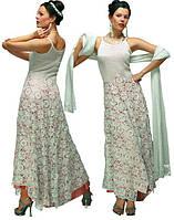 Платье вечернее белое шелковое с шарфом