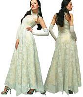 Платье белое вечернее  шелковое с длинными перчатками