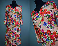 """Нежное женское платье воротник """"Мысиком"""" ткань """"Масло"""" 50, 52, 54, 56 размеры баталы"""