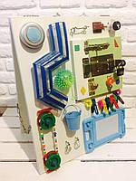 "Развивающая доска двухстороннаяя для детей ""Busy Board"", по методики Монтессори, размер 50х40, материал ДСП"