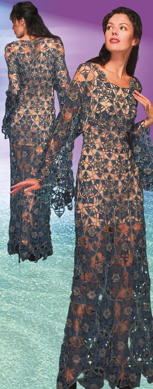 Платье коктейльное шелковое серо-синее из ажурных шестиугольников с синей трикотажной подкладкой