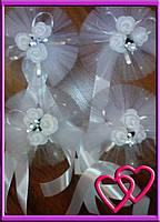 Свадебное украшение на ручки машины три мини розочки, одинарный фатин Белый
