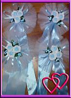 Свадебное украшение на ручки машины три мини розочки, одинарный фатин Голубой