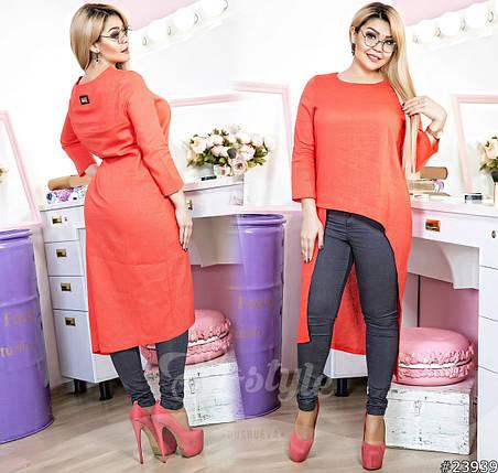Асимметричная туника/блуза полуприталенного силуэта, она имеет небольшой полукруглый вырез и укороченный рукав, фото 2