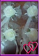 Свадебное украшение на ручки машины Открытая роза