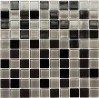 Мозаика стеклянная черно-серая