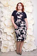 Красивое женское платье большого размера Анри розовые розы (54-64)