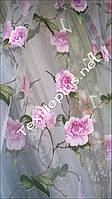 Тюль с сиреневыми цветами