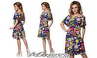 Легкое летнее платье свободного пошива лен размеры:42, 44, 46, 48