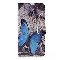Чехол книжка для LG K10 2017 M250 боковой с отсеком для визиток, Голубая бабочка