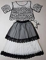 Костюм 6633 белый с черной отделкой лето