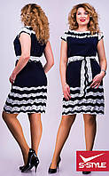 Платье прямого кроя синее в белую полоску