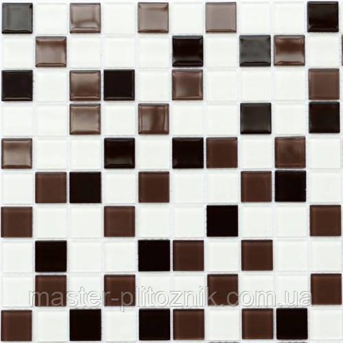 Мозаика облицовочная стеклянная кофейно-бела