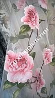 Тюль печать с розовыми цветами