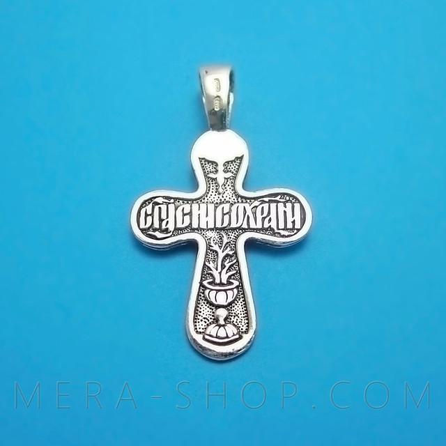 Серебряный крест с надписью спаси и сохрани