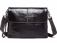 Стильная мужская кожаная сумка-почтальйонка на ремне WESTAL из натуральной кожи
