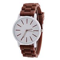 Часы женские с коричневым силиконовым ремешком