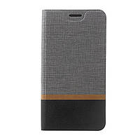 Чехол книжка для LG K10 2017 M250 боковой с отсеком для визиток, Double Color Серый