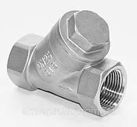 Клапан обратный нержавеющий резьбовой Y-обр. AISI304 Ду15 Ру40