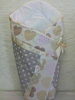 "Летний конверт-одеяло ""Сердце бежевое"" на выписку, в коляску, кроватку 95х95 см для девочки"