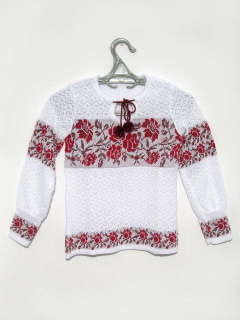 Вышиванка для девочки Розы красные (х/б)