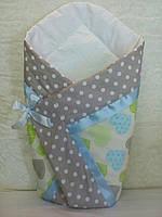 """Летний конверт-одеяло """"Сердце голубое"""" на выписку, в коляску, кроватку для новорожденного"""