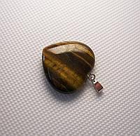 Кулон сердечко камень тигровый глаз, фото 1