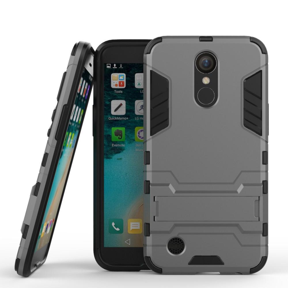 Чехол накладка для LG K10 2017 M250 противоударный силиконовый с пластиком, Alien Серый