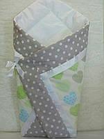 """Летний конверт-одеяло """"Сердце салат"""" на выписку, в коляску, кроватку для новорожденного"""