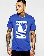 Мужская Футболка Adidas Original Синего цвета с белым логотипом