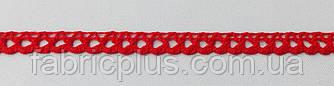 Кружево  лен  9 мм  красн.  одностор.