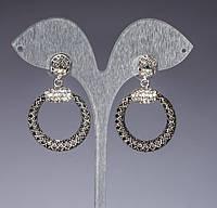 Серьги-пусеты с подвеской  кольцами и стразами (4,5см)